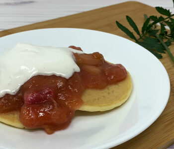 Simple Rhubarb Sauce on Pancakes